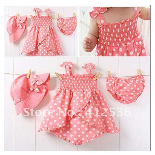 Wholesale - Girls' Suits Three-piece Set Outfit Pink Hat+Dress+Shorts SENSHUKAI 3sets/lot Spunky Kids(China (Mainland))
