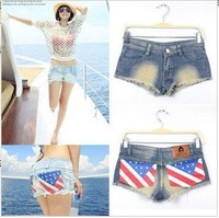 2PCS/LOT New Women casual jeans shorts With American flag denim jeans shorts summer pants Free Shipping