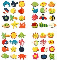 Best selling Wood Baby educational toys magnetic stickers wooden fridge magnets baby toy Free shipping 10 pcs/pack,20 packs /lot