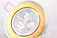 Wholesale Gold color Ceiling  3 W  LED Lamp  ----Free shipping