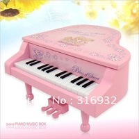 N1 Free Shipping plastic piano shaped Music box, 3 colors for your choice