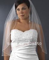 free shipping one layer beading edge wedding veils