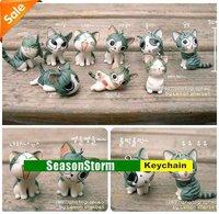 Retail Cute Cheese Cat Phone Straps Charm / Key Ring 9pcs/set (SC-09)