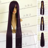 New item!!100cm Black purple long straight lenght cosplay costume wig.Natural real hair.Free shipping