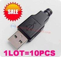 10pcs/lot Wholesale USB A usb2.0 4pin Male jack socket connector converter adapter diy FREESHIPPING