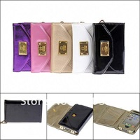 Hotsale  Luxurious Mobile  leather Wallet  Case With Card Holder for iPhone 4G/4S