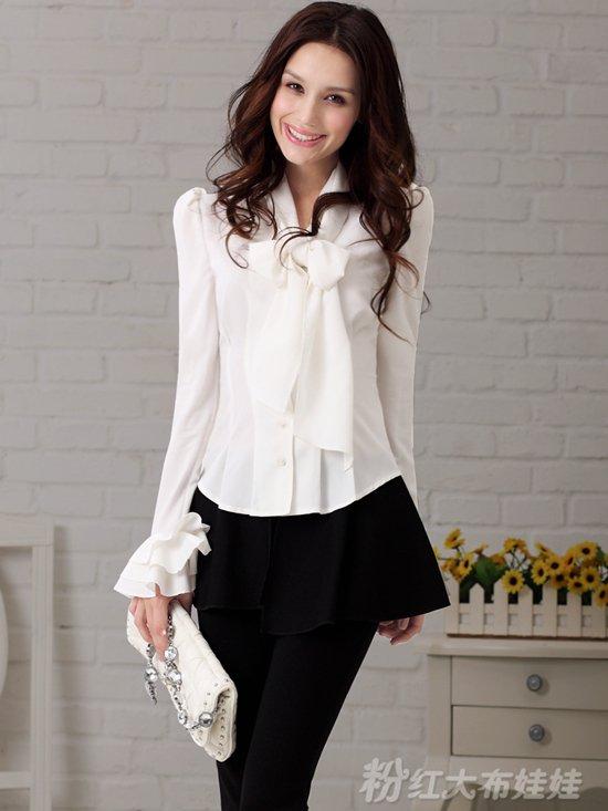 Long Sleeve Blouse With Bow Bow/ Slim/ Long-sleeve