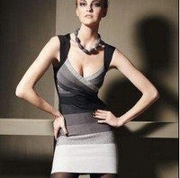 Women's sexy Noble Ombre Bandage Dress Celebrity Cocktail Party Evening Dresses HL2210