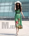 Summer Green Printing Slim Figure Longuette Chiffon Fashion Ladies'  Party Evening Dress  Free Shipping (hot-selling!!!)