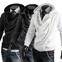 Wholesale & Retail ! fashion pullover collar design fitting mens outwear sweater, zip up cool hoodies jackets for men 2012