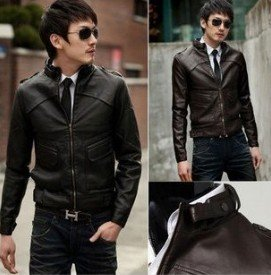 NEW Men's Slim Designed Sexy PU Leather Short Jacket Coat 2 Color 3 SIZE
