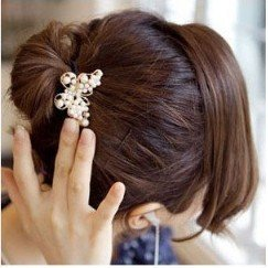 Min.order is $5 (mix order) Free Shipping Korean Fashion Style Rhinestone Pearl Butterfly Hairband Elastic Hair Bands (H041)