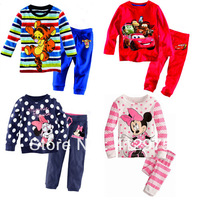 Kids suit Cartoon clothing in stock 5set/lot Baby boy and girl  t-shirt +pants 2pcs set summer short sleeve  Children clothes