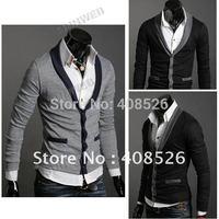 dropShipping Men's Knitwear Cardigan Fake Pocket Design Slim Casual Sweater Coat M L XL Black, Gray Retail & Wholesale 5450