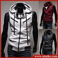 Free shipping Men's Jacket Leisure hoody Vest Zipper Cardigan Casual hoodie Outwear man's hood waistcoat Asia M-L-XL-XXL C051