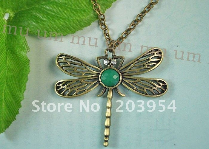 Free shipping!jewellery,10pcs,Dragonfly Bronze Necklace Pendant Green Stone Crystal Eye Chain Brass insect K113(China (Mainland))