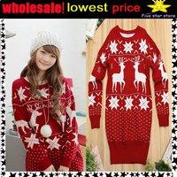 woolen round collar knitwear,weave sweater, women clothes, christmas women lovely deer long sweater (NXL001-4)