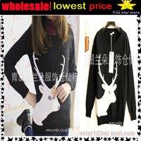 woolen round collar knitwear,weave sweater, women clothes, christmas women lovely deer long sweater (NXL002-3)