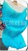PAIRS  BELLY DANCE  FAN VEILS 100% 5mm SILK hand-dyed sky blue 1.8m
