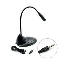 Free Shipping Wholesale PC Flexible Stereo Meeting Microphone 3.5mm Mic with Stand + On/Off Switch for VoIP Skype E02050018