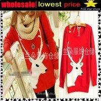 lowest price,wholesale!! collar knitwear,weave sweater, women clothes, christmas women lovely deer long sweater (NXL002-6)