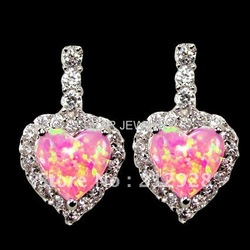 MOQ $15.0 Sweet Heart Pink Opal Lovely earring Sterling Silver Jewelry DR0300756E Free Shipping(China (Mainland))