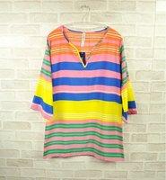 Women's Dresses 2012 Fan bingbing Same Style Casual Lady Chiffon Colorful Rainbow Striped Vintage Dress Tops