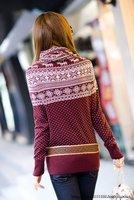 lowest price,wholesale!! collar knitwear,weave sweater, women clothes, christmas women lovely deer long sweater (NXL004-4)