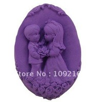 1pcs Romantic Lovers(R0820) Silicone Handmade Soap Mold Crafts DIY Mold