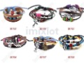 20pcs Free Shipping Mixed Mutilayer Wristband Braid Leather Bracelet Jewelry With Charms [B703-B708M*20]