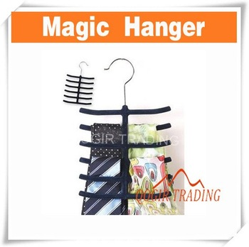 Tie Belt Hanger Rack Organizer Hold 12 Ties - Black D8177