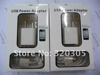 2 in 1  USB Power Adapter  Cable Charger For Iphone4 4s 3g 3gs With Retail Package Free Shipping