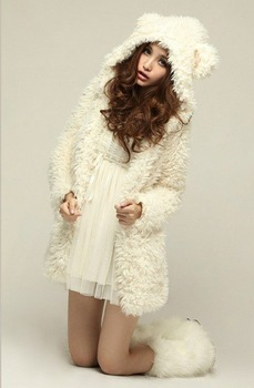 Free Shipping Fashion Korean Style Cute Bear Ears Hooded Long Plush Coat Beige, Women's Winter Coat+Wholesale/Retail/Drop Ship