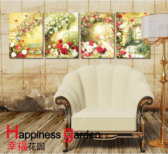 Beautiful Happiness Garden Flower Cross Stitch Kits Four Pieces Hand Made Cross Stitch Set+Free Shipping(China (Mainland))