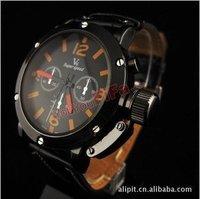 Wholesale waterproof Sport watch Six pointer black dial machine core operation man YunDongBiao watch quartz watch  Free shipping