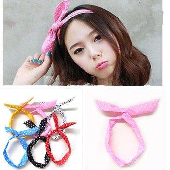 Free shiping,Retro 50s 60s Wire Polkadot Headband Head Hair Band Wrap Headwrap Polka Dot Cute,Mixcolors C0001