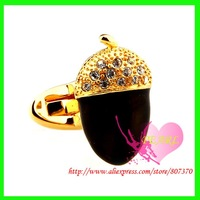 2012 July New Products Freeshipping Plating Gold  Black Strawberry Shape  Mens Accessories Luxury Cufflinks with Gift Box