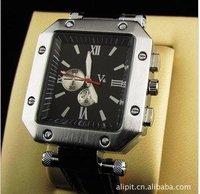 Wholesale Waterproof Fashion Quartet surface quartz watch black PU strap the automatic Wirst watch free shipping