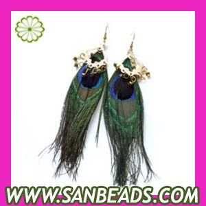 Free Shipping! 120pairs/lot Elegant Natural Peacock Feather Earrings Wholesale,FE5468