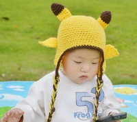 NEW ARRIVEL cute crochet baby hat  ear cap with braids free shipping