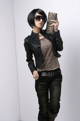 Free Shipping New Womens Fashion Short Leather Jacket Stand Collar Small Lady's Outwear Coat N5882 Drop Shipping(China (Mainland))