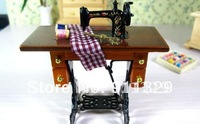 Best selling!!1/12 Scale Dollhouse Furniture Miniature Vintage Sewing Machine Table ,Free shipping,1 pcs