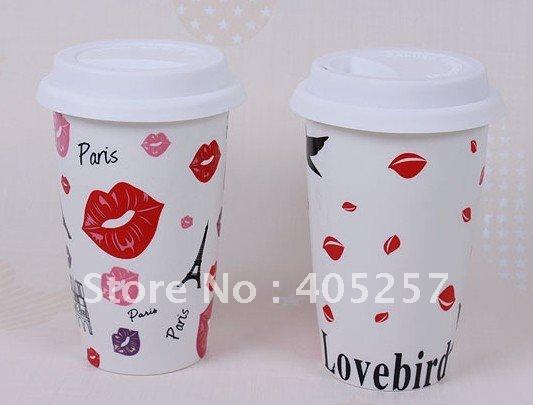Customize logo 108pcs/lot poreclain coffee mug double wall eco cup 12Ounce(China (Mainland))