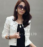 New! Women's Suit Lady's Jacket Short Rivet Suit 2 Colors Women Western Style Suit Coat