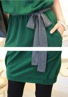 NEW  Women's Batwing Dolman Casual Short Sleeve Green Cotton Mini Dress
