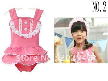 little girl pink one pieces Swimwear white lace ruffles 2pc/set  w/ swim cap swimsuits chirdren kids pool beach wear