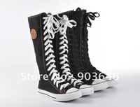 PUNK Leisure Lady Girl Shoes Canvas shoes Skate Flat Tall Boot Sneaker Knee-High Lace Up