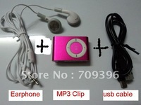 Metal MINI Clip MP3 Player with card slot +Earphone +usb cable,Support 8GB4GB2GB Micro TF card ,free shipping by china air mail