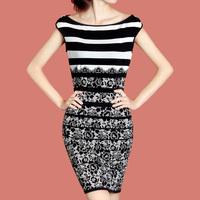 2012 OL outfit elegant slim stripe lace decorative pattern one-piece dress g06 plus size available