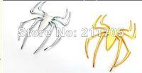 3D Chrome gold color Metal Spider Emblem Chrome Metal Car Truck Motor Auto Decal Sticker Free Shipping $1/piece